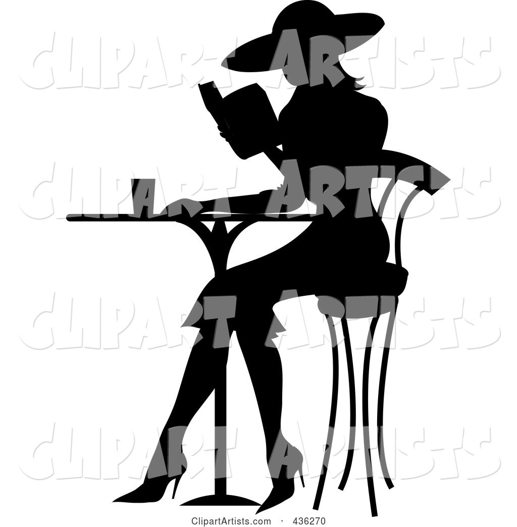 Bistro table clipart svg transparent library Black Silhouetted French Woman Reading A Book At A Bistro Table ... svg transparent library