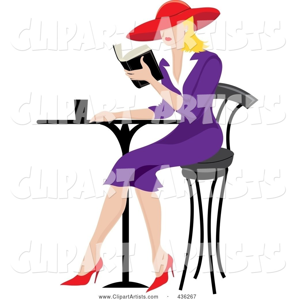 Bistro table clipart image black and white library Beautiful Blond French Woman Reading A Book At A Bistro Table ... image black and white library