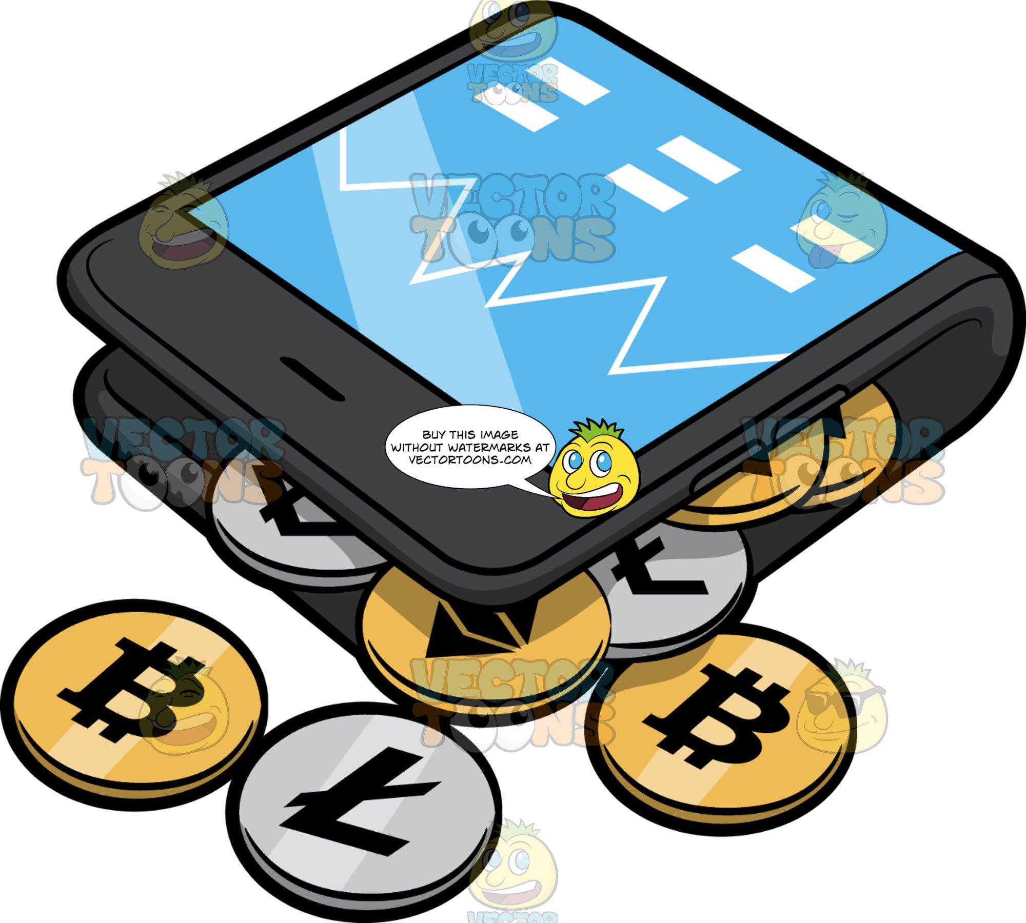 Bitcoin wallet clipart clip stock A Bitcoin Mobile Wallet clip stock