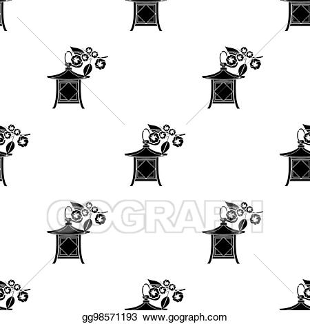Drawing - Japanese lantern icon in black style isolated on white ... clip art library download