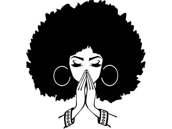 Black woman praying clipart svg black and white Afro Woman SVG #1 Nubian Princess Queen Afro Hair Beautiful African ... svg black and white