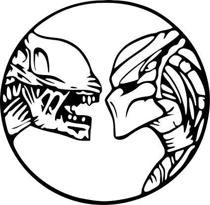 Black an white clipart of predator alien image free library Alien Vs. Predator Vinyl Die Cut Decal image free library