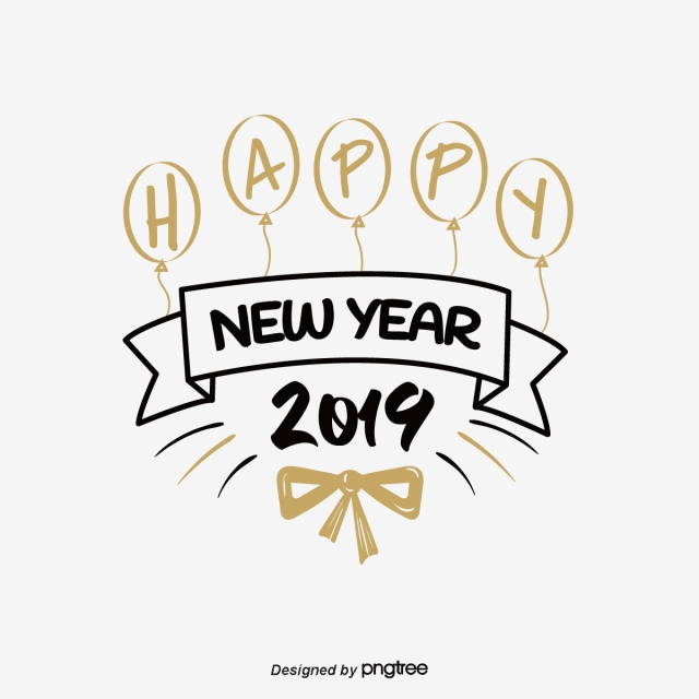 Black and gold 2019 clipart image royalty free stock Happy New Year 2019 Balloon Black Gold Art Words Art Font For Free ... image royalty free stock
