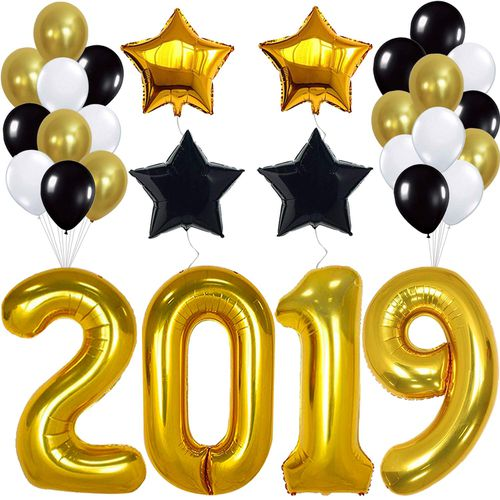 Black and gold 2019 clipart clipart library stock 40inch 2019 Balloons Gold for New-Year Black Gold and White Balloon Kit Eve  Party Supplies 2019 Graduations Party Supplies @ VOVA clipart library stock