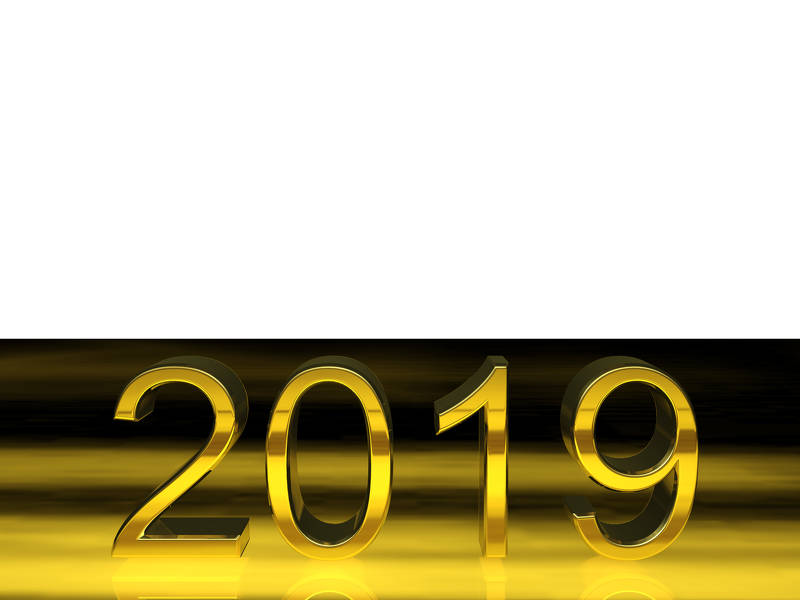 Black and gold 2019 clipart jpg transparent download Digits 2019 3d render gold digits with reflections white background ... jpg transparent download
