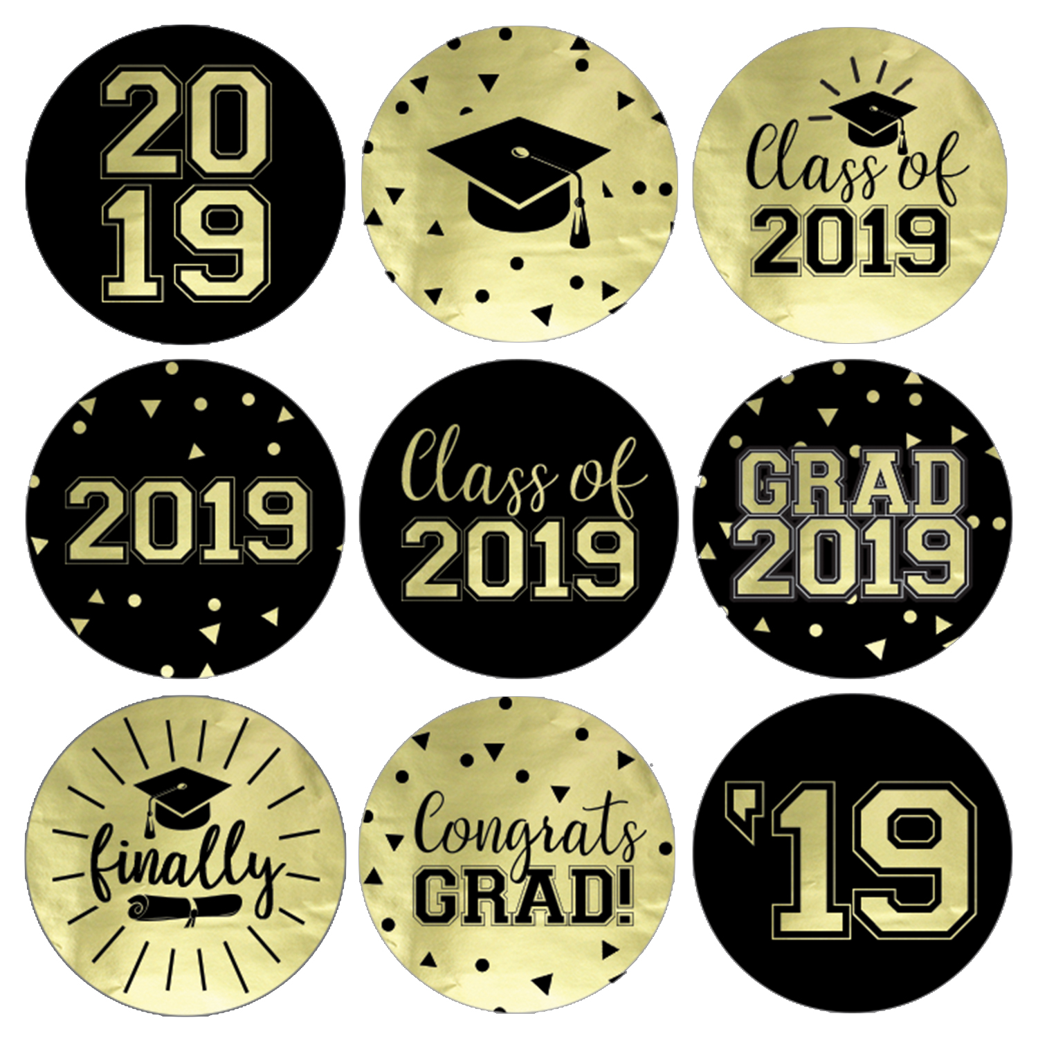 Black and gold 2019 clipart vector library library Gold Foil Graduation Party Stickers 198ct | Class of 2019 Favor Labels vector library library
