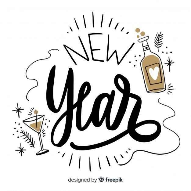 Black and gold 2019 clipart graphic free Happy new year 2019 black and gold background with fancy lettering ... graphic free