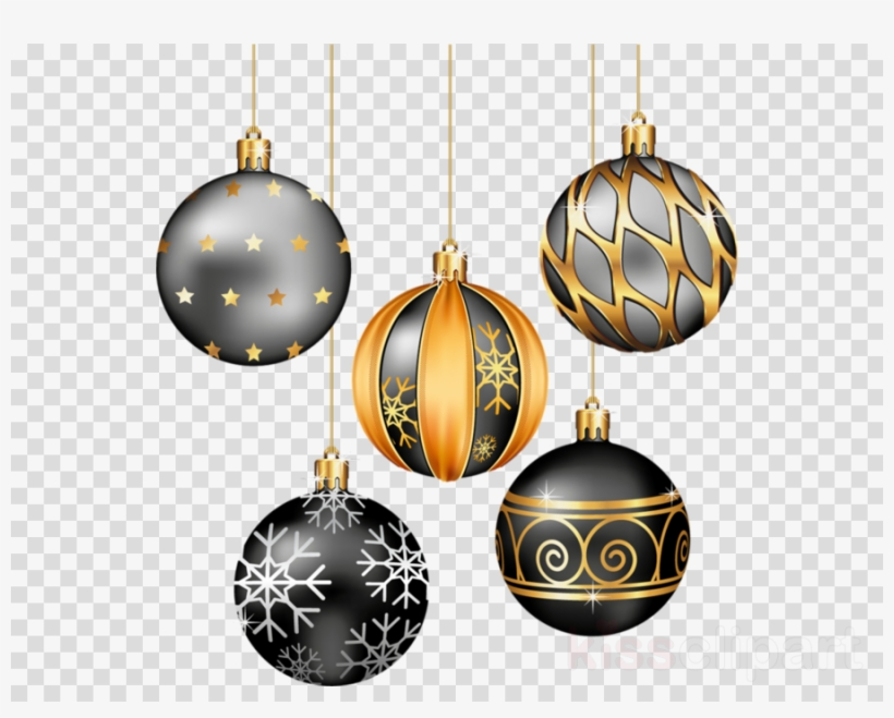 Black and gold holiday clipart png download Download Black And Gold Christmas Ornaments Clipart - Christmas ... png download