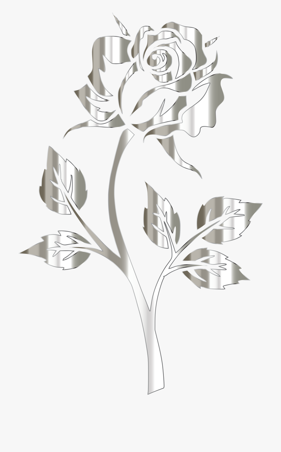 Flower Graphic And Library Clipart Polished Silver - Silver Rose No ... banner library library