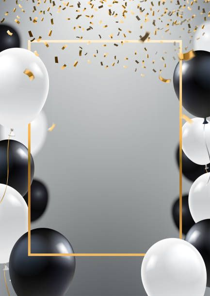 Abstract ceremonial silver background with black and white balloons ... vector library stock