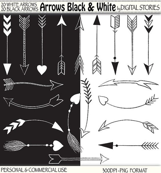 40 Arrows Clipart ARROWS BLACK & WHITE Hand by DigitalStories ... vector royalty free library