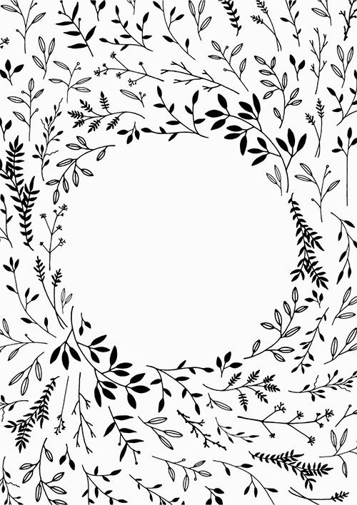 Black and white band plant clipart png image library download Hand Drawn Leaf Border Clipart Frame Black Botanical Background png ... image library download