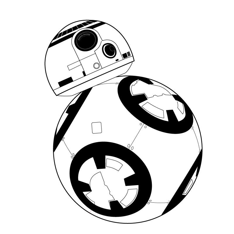 Black and white bb8 clipart