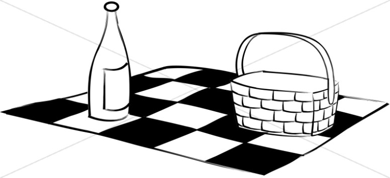 Black and white clipart of blanket with cars clipart library Black and White Picnic Blanket Basket and Wine | Church Activity Clipart clipart library