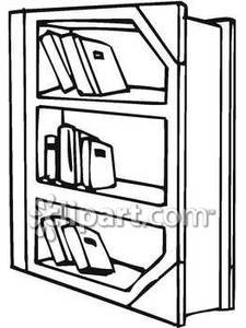 Black and white bookcase clipart banner library Black and White Bookshelf - Royalty Free Clipart Picture banner library
