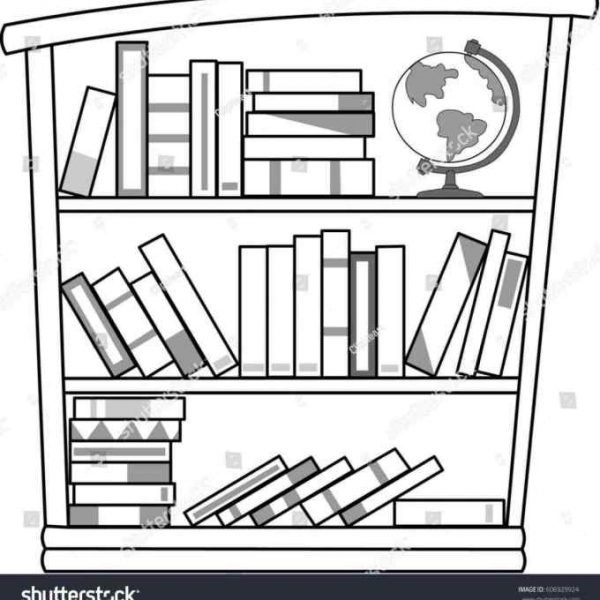 Black and white bookcase clipart banner Bookshelves Clipart Black And White - Image Collections Book banner