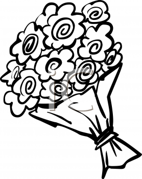 Bouquet of flowers clipart black and white clipart library download Flower Bouquet Clipart Black And White | Free download best Flower ... clipart library download