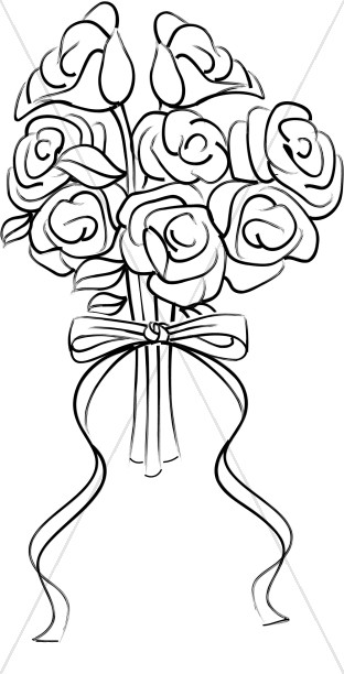Rose bouquet clipart black and white graphic freeuse download Rose Blossom Bridal Bouquet | Church Bouquet Clipart graphic freeuse download