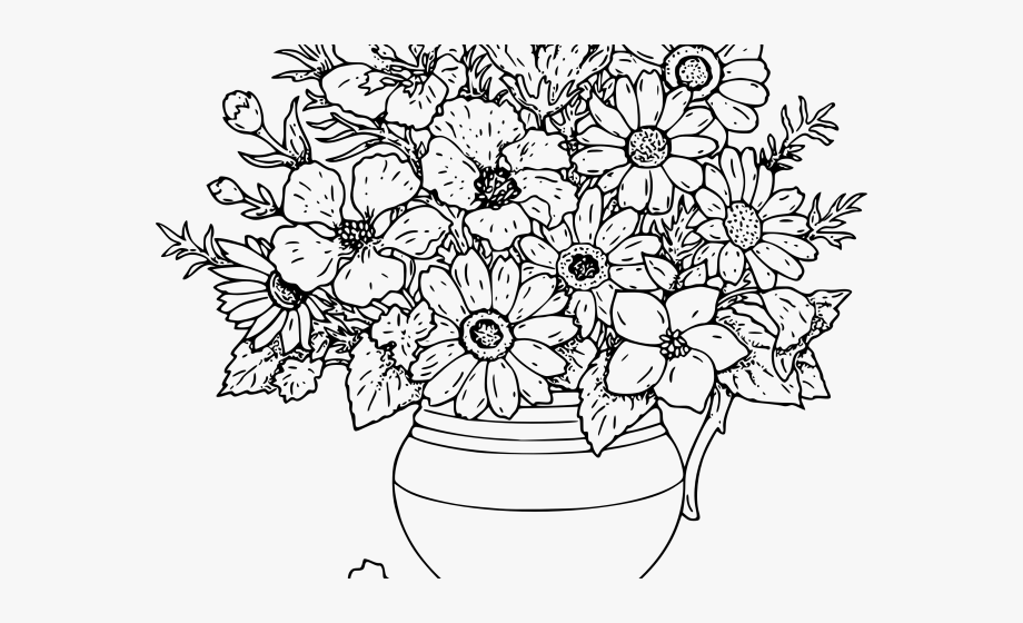 Bouquet of flowers clipart black and white banner library stock Flower Bouquet Clipart Black And White - Flowers Coloring Colouring ... banner library stock