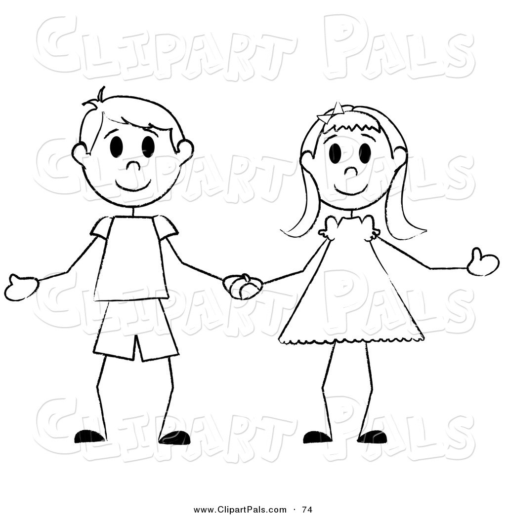 At Clipart Of A Girl Black And White Boy 1 | Clip Art stock