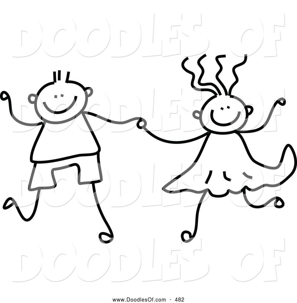 Vector Clipart of a Cute Black and White Boy and Girl Holding Hands ... svg transparent
