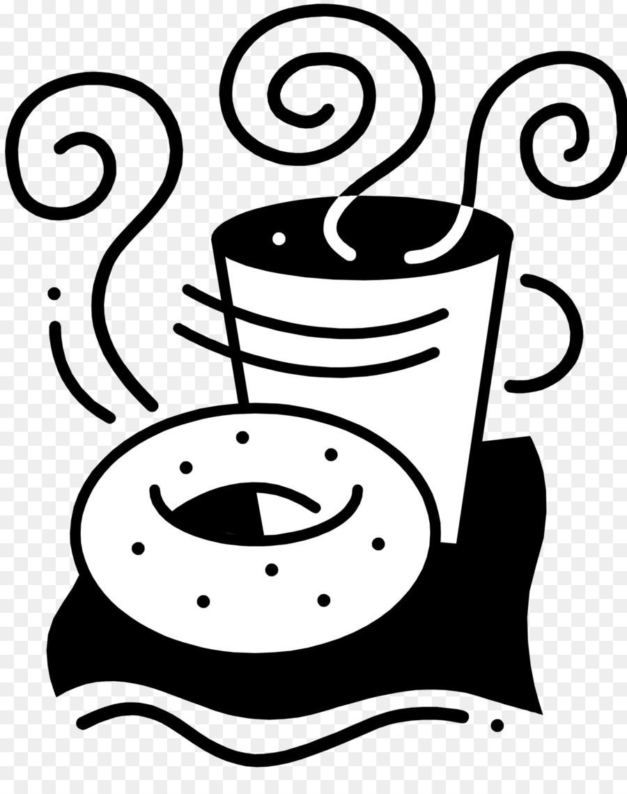 Black and white bread with coffee clipart