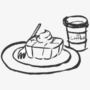 Black and white bread with coffee clipart picture royalty free library Plat Drawing Bread - Bread Clip Art Black And White Png #141490 ... picture royalty free library