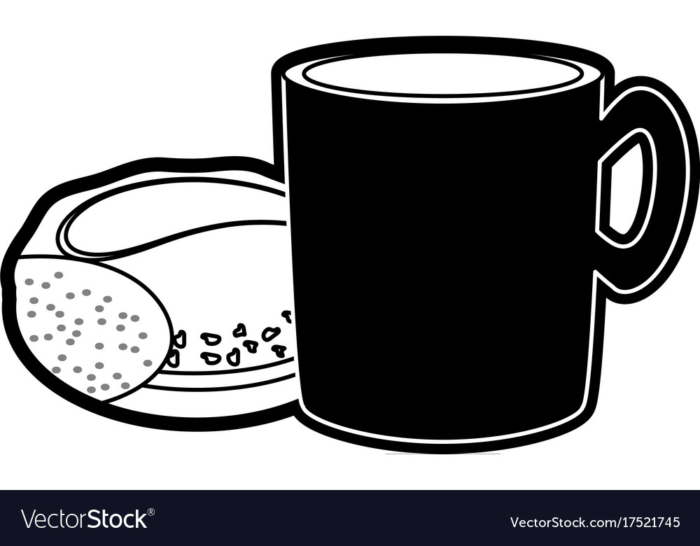 Black and white bread with coffee clipart png transparent Coffee cup and bread vector image on VectorStock png transparent