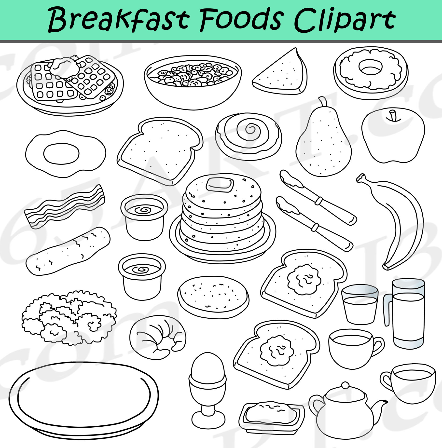 Breakfast teach clipart png free library Breakfast Foods Clipart Bundle - Breakfast Clipart Graphics png free library