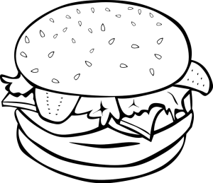 Simple burger and fries black and white clipart png freeuse Free Hamburger Cliparts Black, Download Free Clip Art, Free Clip Art ... png freeuse
