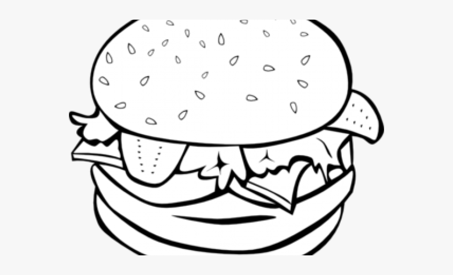 Black and white burger clipart graphic free Hamburger Clipart Outline - Burger Clipart Black And White #445898 ... graphic free