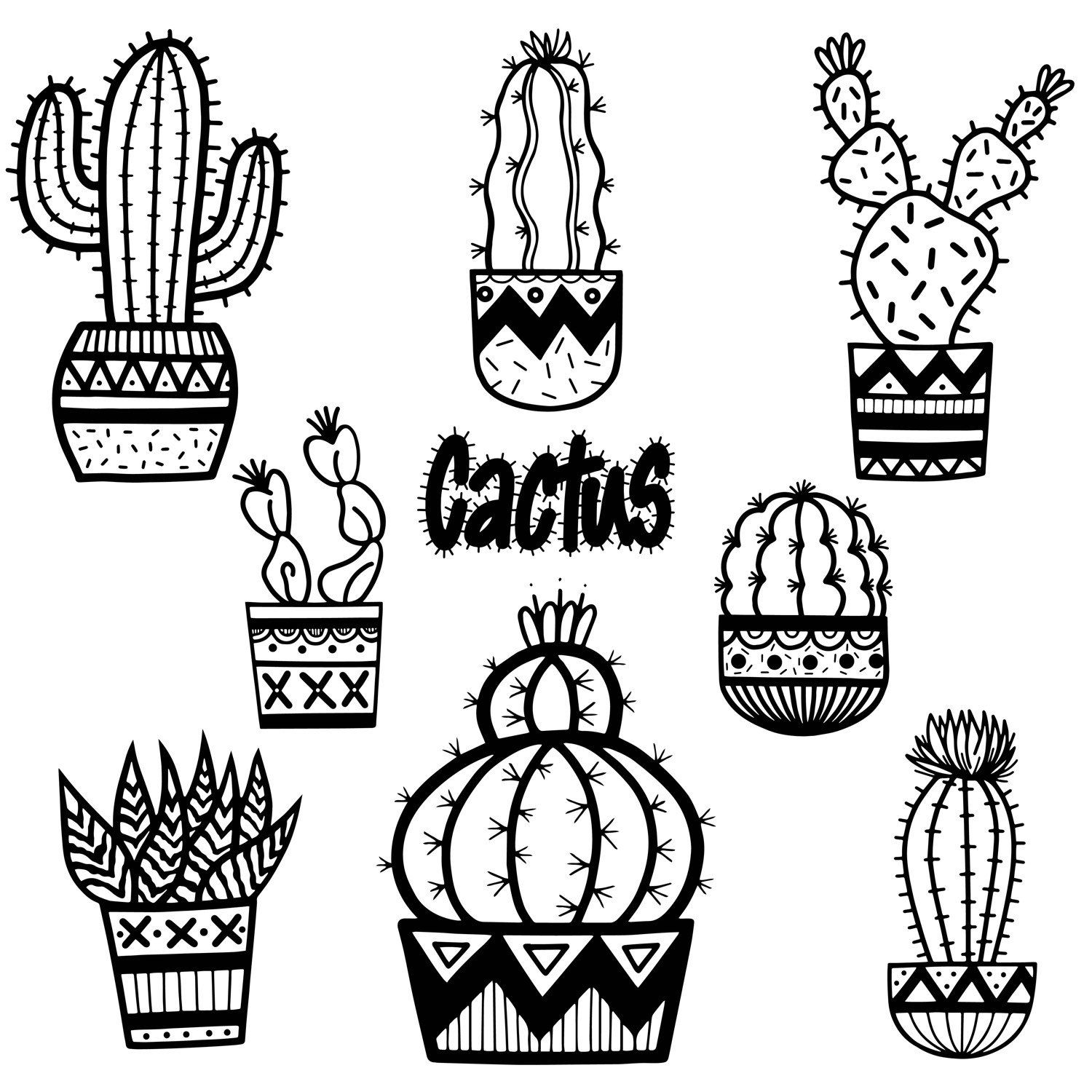 Black and white clipart image of catus flowers banner transparent download Cactus Clip Art, Cactus, Cute cactus,hand drawn, Doodles, Plants ... banner transparent download