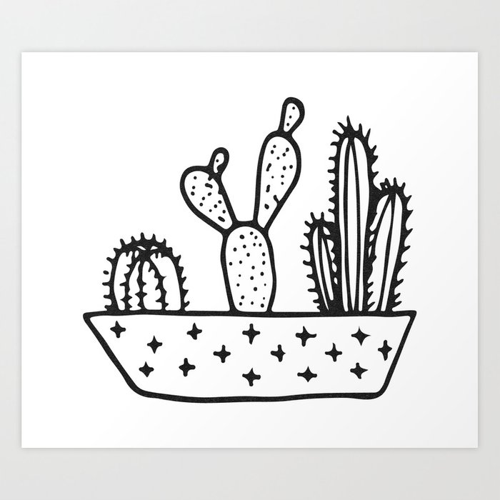 Black and white clipart image of cactus svg free Cactus House Garden Black and White Art Print by naturemagick svg free