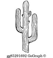 Black and white clipart image of cactus clip transparent stock Black And White Cactus Clip Art - Royalty Free - GoGraph clip transparent stock