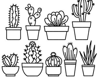 Black and white clipart image of cactus library Black and white cactus clipart 6 » Clipart Station library