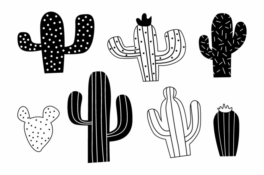 Black and white cactus with lights clipart jpg library Black And White Cacti Wall Stickers - Black And White Cactus Sticker ... jpg library