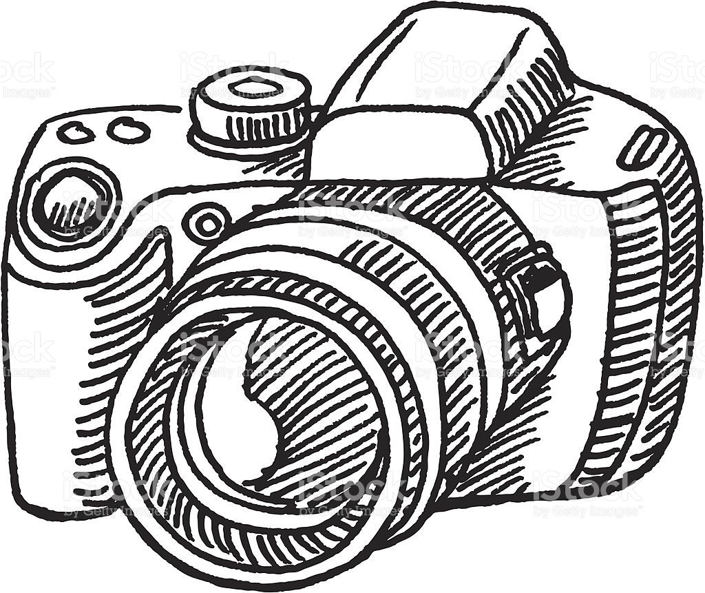 Camera black and white clipart svg library Hand-drawn vector sketch of a generic Digital Camera. Black-and ... svg library