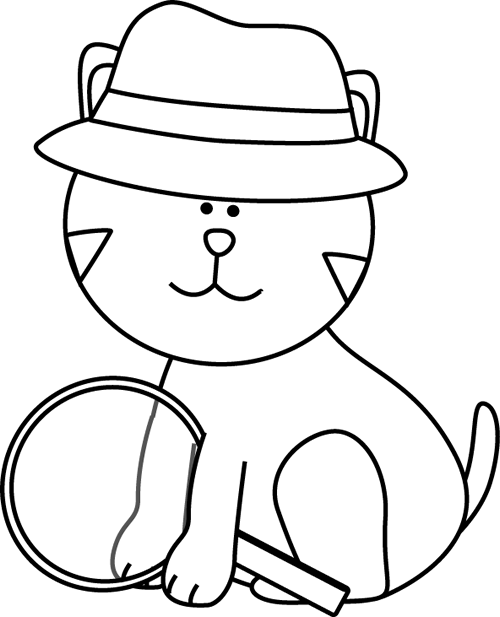 Cat in the hat outline clipart graphic royalty free stock Detective Black And White | Clipart Panda - Free Clipart Images graphic royalty free stock