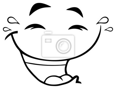 Black and white cartoon clipart of laughing clip art library library Poster: Black and white laugh cartoon funny face with smiley expression. clip art library library