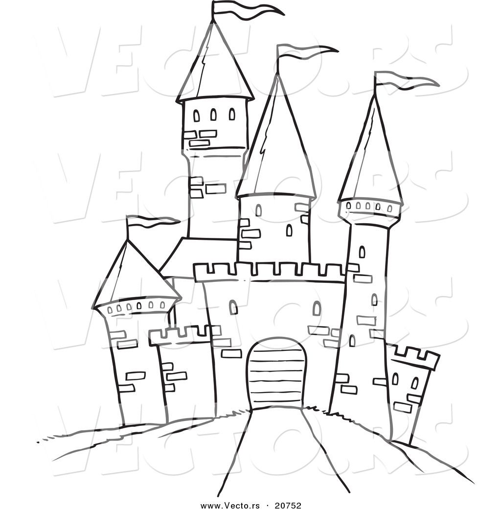 Snow castle clipart black and white sketch clipart royalty free Printable Black and White Art | Vector of a Cartoon Path Leading to ... clipart royalty free