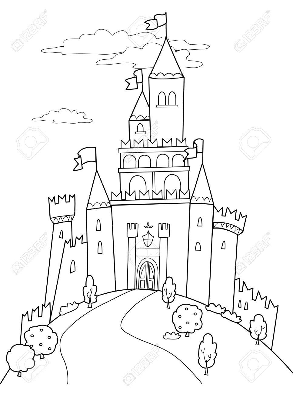 Black and white castle clipart vector download Fairytale Castle Png Black And White & Free Fairytale Castle Black ... vector download