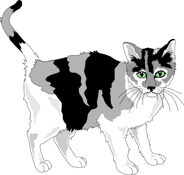 Black And Gray Cat Clip Art at Clker.com - vector clip art online ... black and white stock