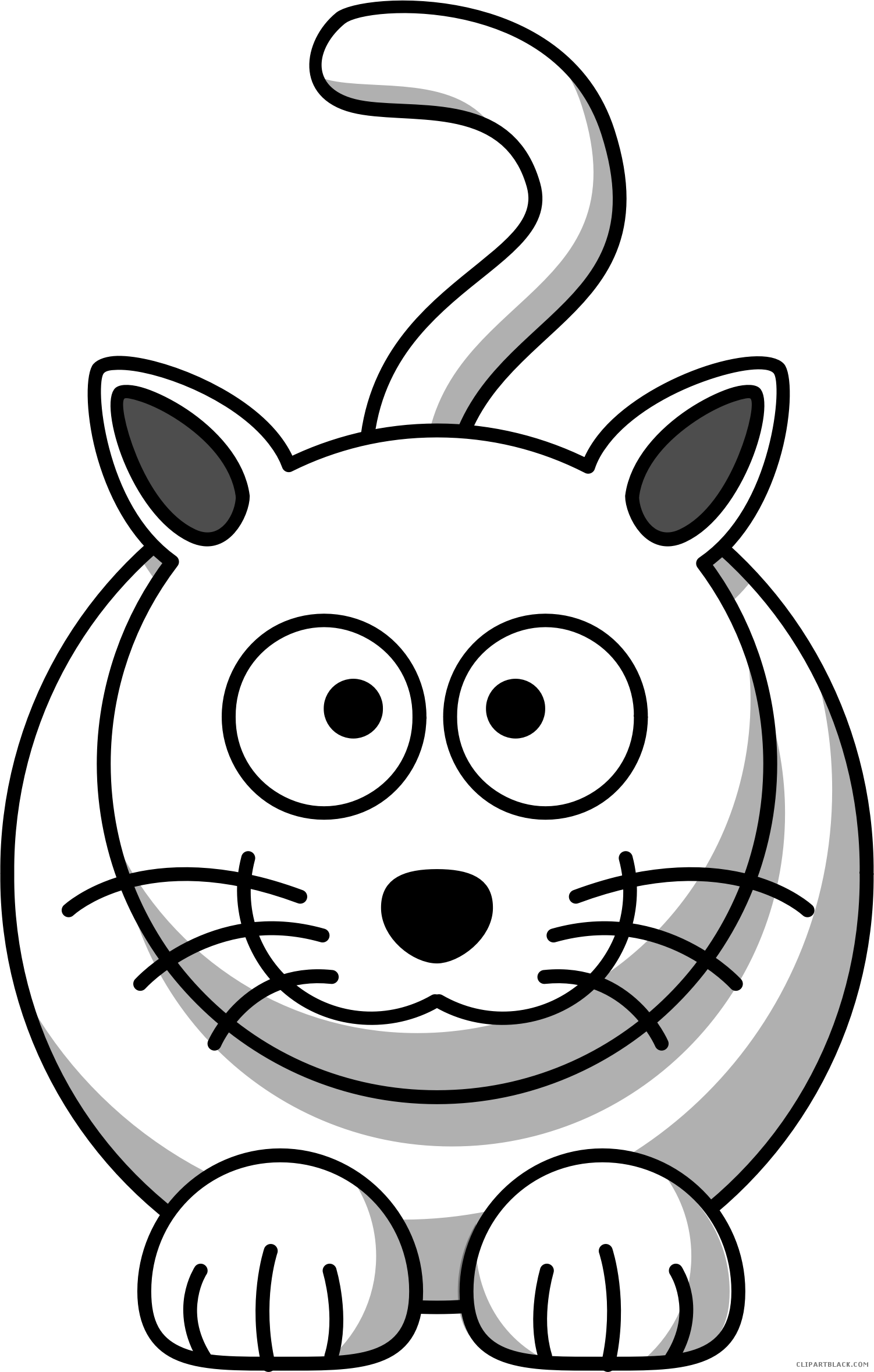 Cat clipart free black and white banner library White Cat Clipart - ClipartBlack.com banner library