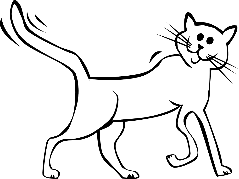 Cat Black And White Drawing at GetDrawings.com | Free for personal ... clip art stock