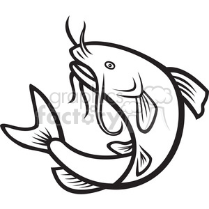 Catflish clipart image transparent library black and white catfish jump MP clipart. Royalty-free clipart # 388114 image transparent library