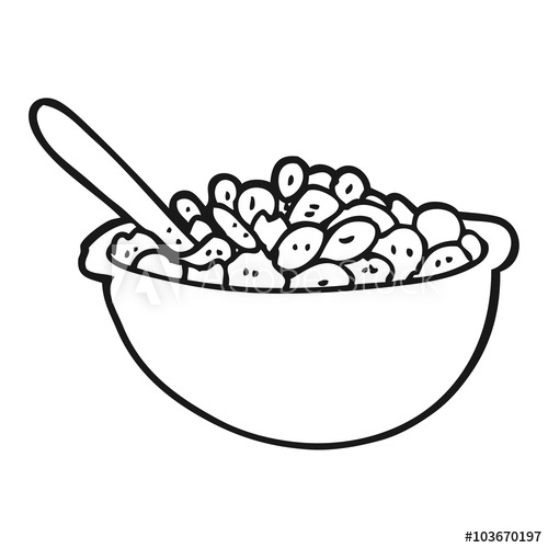 Black and white clipart cereal clip royalty free stock black and white cartoon bowl of cereal - Buy this stock vector and ... clip royalty free stock