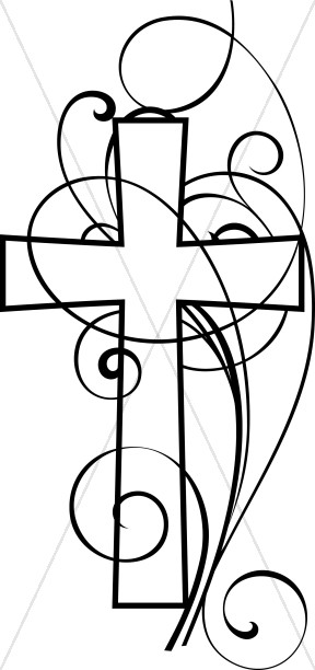Christian black and white clipart jpg free download Cross And Swirls Black and White Christian Clipart | Cross Clipart jpg free download