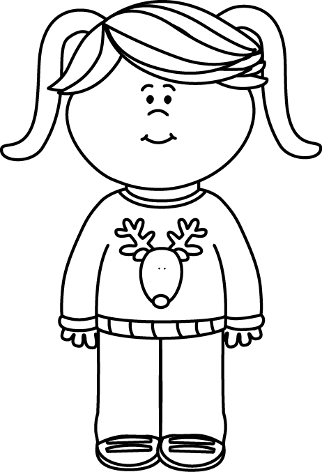 Black and white christmas clipart clip royalty free Black and White Girl Wearing a Christmas Sweater Clip Art - Black ... clip royalty free