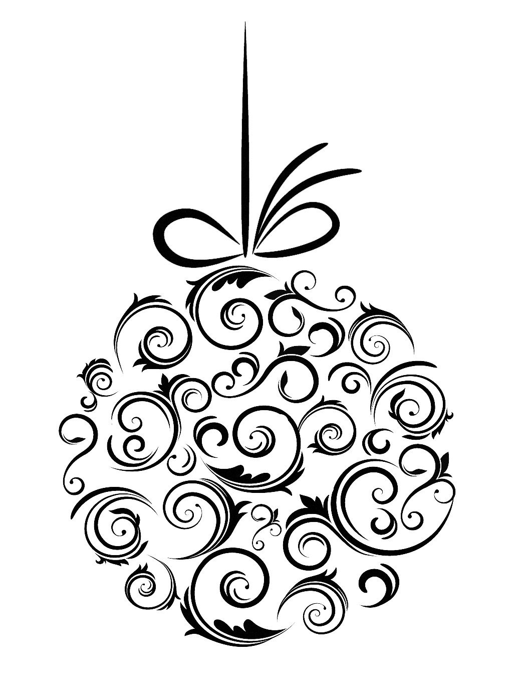 Black and white christmas clipart holly merry christms vector stock Black And White Christmas Ornaments Black and whit christmas ... vector stock