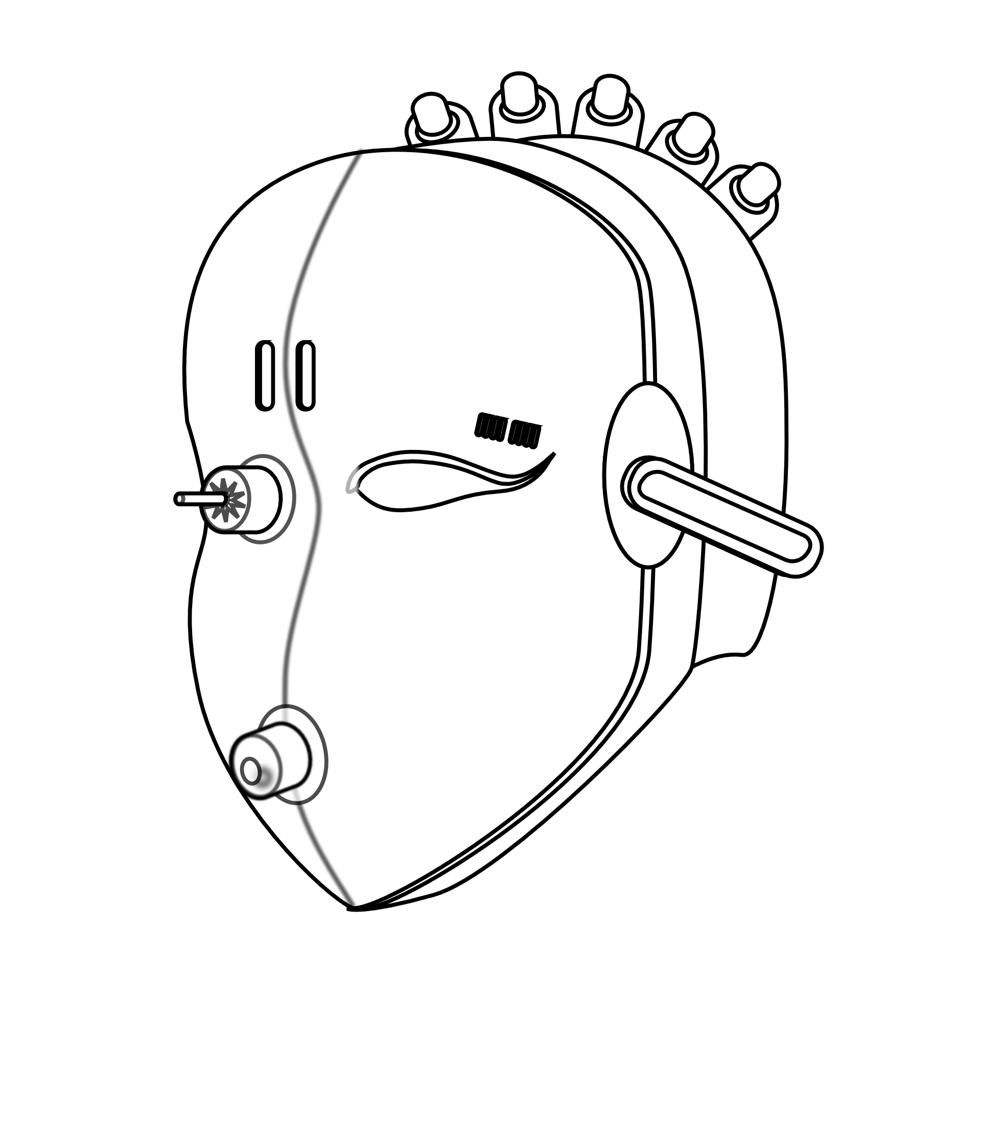 Black and white christmas electronics clipart vector freeuse stock Robot face Black White Line Art Coloring Book Christmas Xmas ... vector freeuse stock